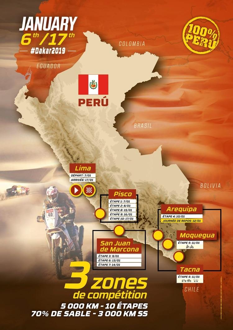 (REUTERS) El trayecto del Dakar Perú
