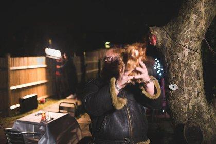 Trevor with a chicken