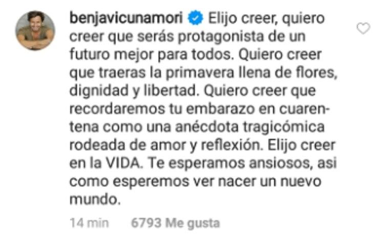 El profundo mensaje de Benjamín Vicuña sobre el embarazo de la China Suárez (Foto: Instagram)