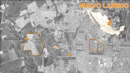 El mapa del supuesto recorrido de la Policía Estatal el día del abatimiento de los sicarios (Mapa: Infobae, Jovani Silva)