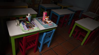 A classroom stands empty at the Casa del Colibri school amid the new coronavirus pandemic, as students return to classes but not schools in Mexico City, Monday, Aug. 24, 2020. A system cobbling together online classes, instruction broadcast on television channels and radio programming in indigenous languages for the most remote, will attempt to keep students from missing out. (AP Photo/Marco Ugarte)