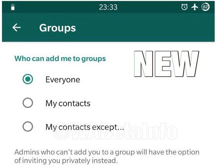 La nueva herramieta permitirá seleccionar cuáles contactos pueden agregar a alguien a un grupo. (Foto: WabetaInfo)