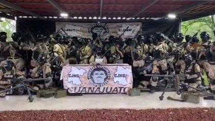 """El Grupo Élite del CJNG reaparición para declarar """"liberado"""" el estado de Guanajuato tras la detención de El """"Marro"""" (Foto: Captura de pantalla)"""