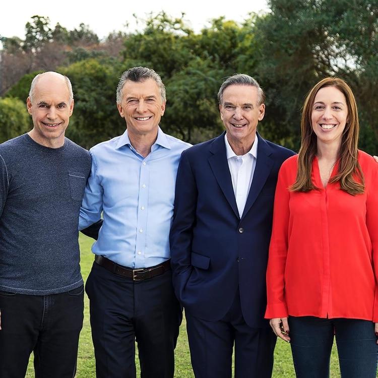 Horacio Rodríguez Larreta, Mauricio Macri, Miguel Ángel Pichetto y María Eugenia Vidal, los candidatos más importantes de Juntos por el Cambio. (Twitter: @mauriciomacri)