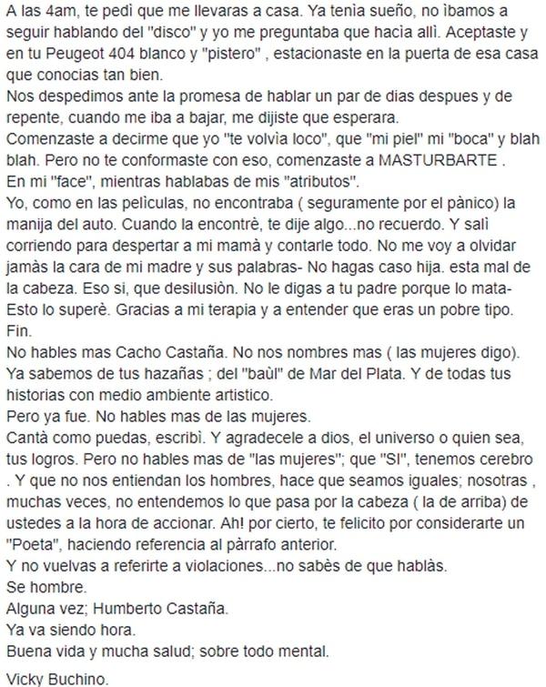 Grave denuncia a Cacho Castaña: