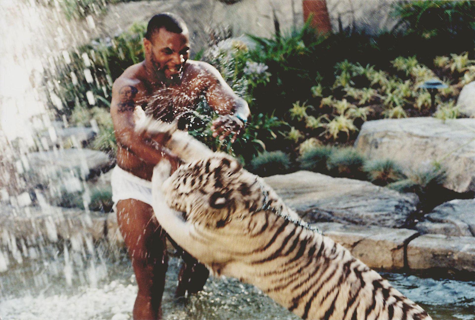 Mike Tyson con su tigre