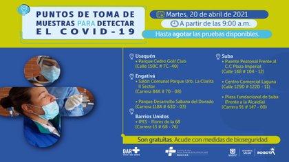 Lugares en Bogotá donde podrá hacerse una prueba gratuita para la detección de covid-19