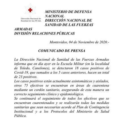 El comunicado de la Dirección Nacional de Sanidad de las Fuerzas Armadas