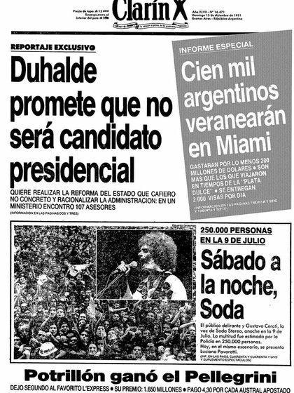 """Sábado a la noche, Soda"", tituló Clarín"