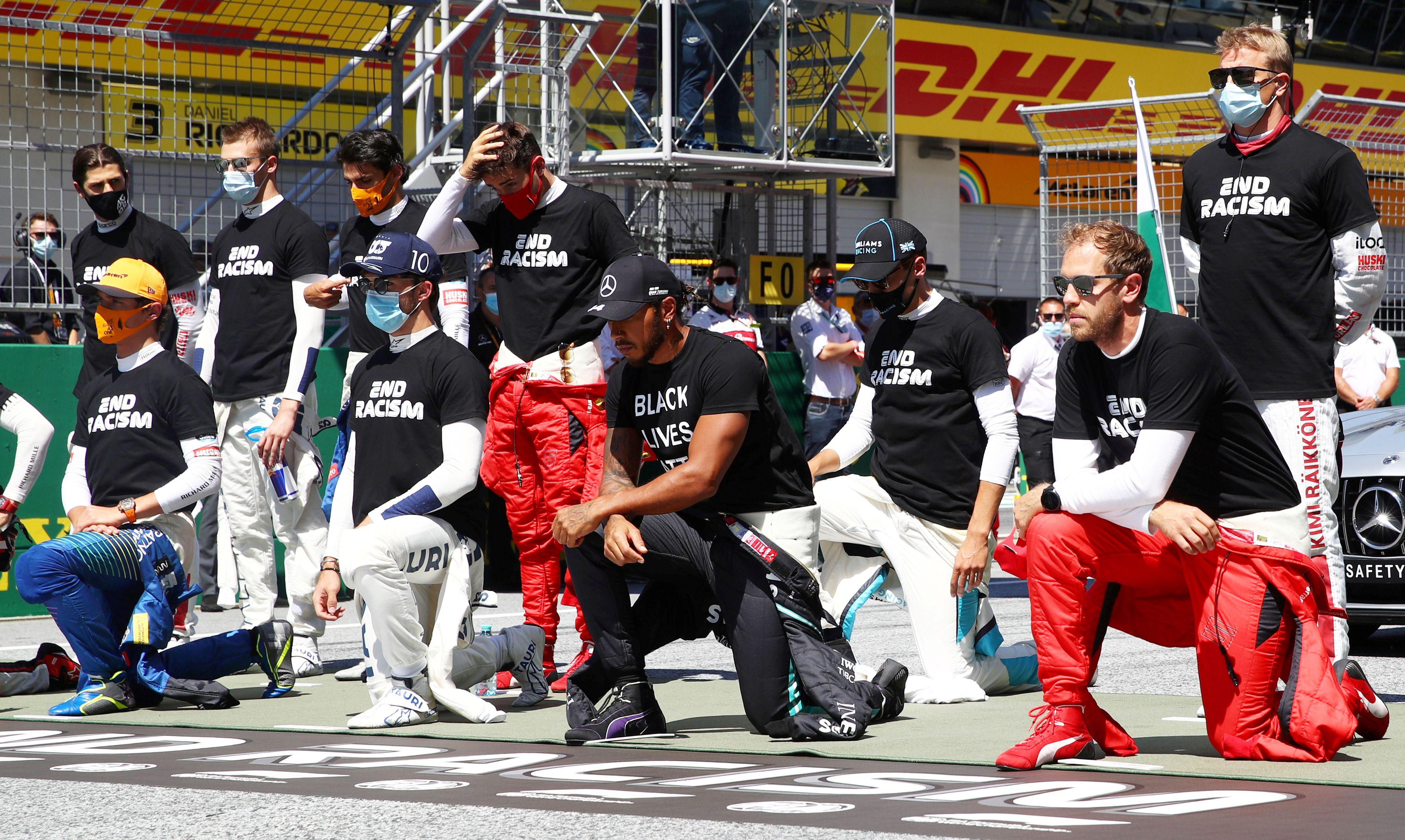 Seis pilotos se negaron a arrodillarse en la previa de la carrera (Mark Thompson/Pool via REUTERS)