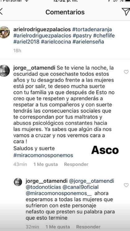 El marido de la modelo le dejó un fuerte mensaje en la cuenta de Instagram a Ariel Rodríguez Palacios