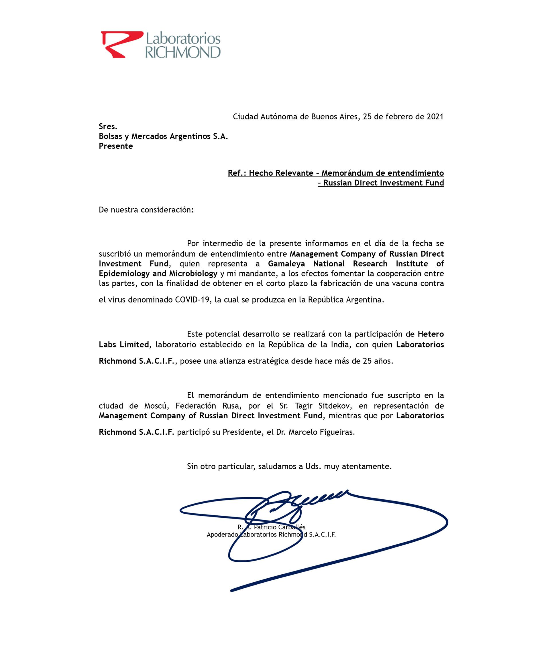 pedido laboratorios richmond fabricacion vacuna rusa sputnik V en argentina