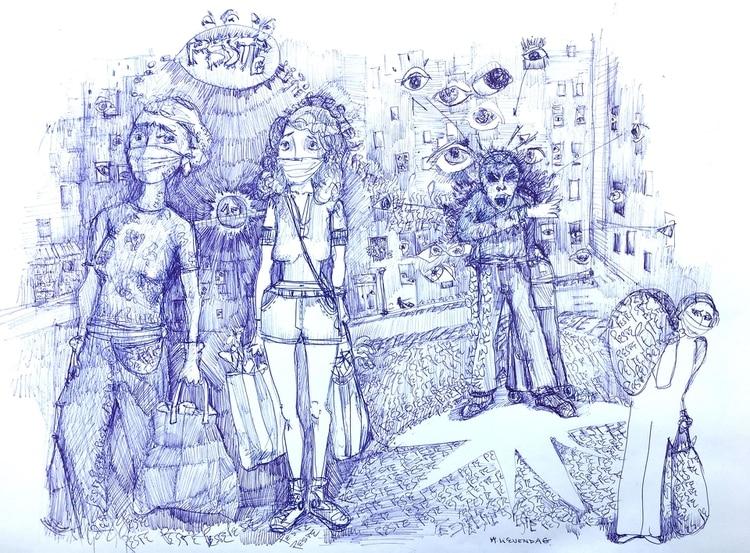 El dibujo de Marlene Lievendag hecho con birome para #EstoyEnCasa. También sumaron sus obras Ruiz, Maximiliano Rodríguez, Alfredo Sábat, Fernando Samartín y Facundo Soto.