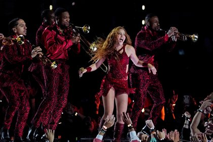 FILE PHOTO: Feb 2, 2020; Miami Gardens, Florida, USA; recording artist Shakira performs during the halftime show in Super Bowl LIV at Hard Rock Stadium. Mandatory Credit: Kirby Lee-USA TODAY Sports/File Photo