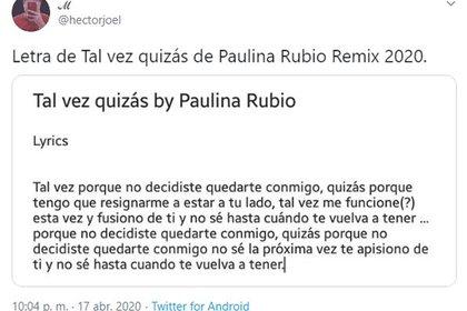 Uno de los usuarios redactó el texto literal de la cantante de su propia canción (Foto: Twitter)