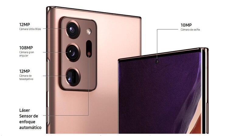 El Samsung Galaxy Note 20 Ultra cuenta con cuatro cámaras traseras y una frontal.