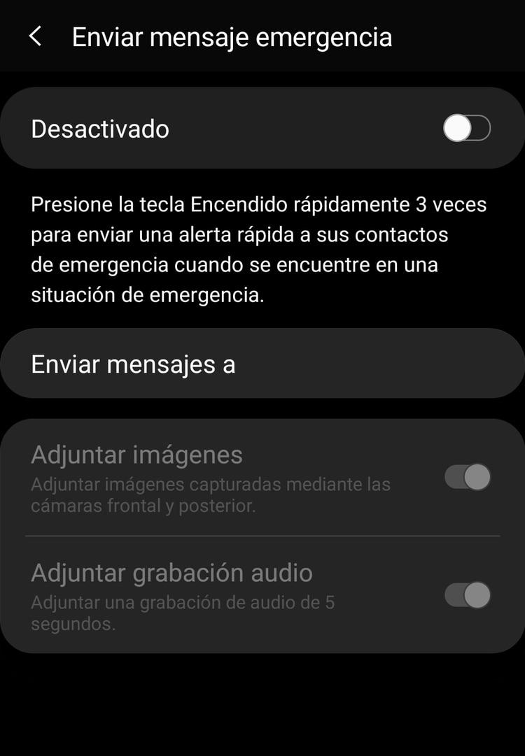 Dentro del menú ajustes y dentro de las opciones Funciones avanzadas se activa la opción para enviar mensajes de emergencia.