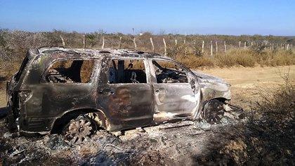 Vista de un vehículo con cuerpos calcinados hallado por la Fiscalía General de Justicia de Tamaulipas, en el municipio de Camargo (México). EFE/STR