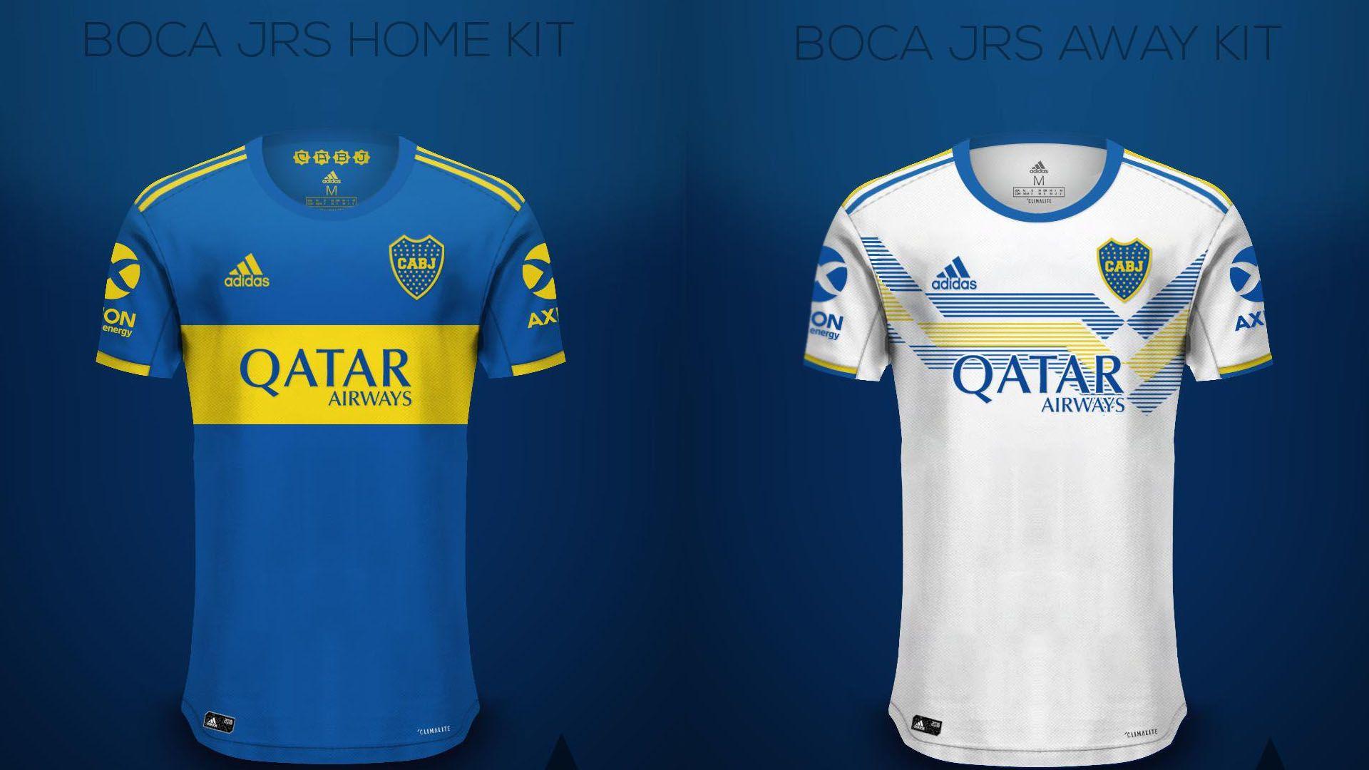 Los modelos de camisetas que circulan en las redes sociales: aún no están confirmados pero pueden llegar a ser los de Boca en 2020 (@AdrixDesign)