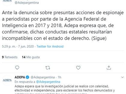 El mensaje de ADEPA sobre la denuncia