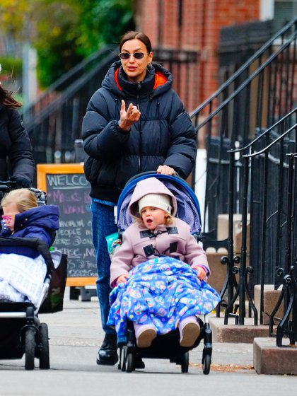 Irina Shayk Enjoyed A Walk Through The Streets Of New York With Her Daughter Lea De Seine - A Result Of Her Previous Relationship With Bradley Cooper. The Model Walked With A Friend, And They Both Carried Their Respective Daughters In Strollers