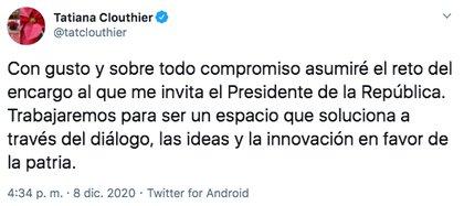 Tatiana Clouthier dijo que trabajará en un espacio que solucione a través del diálogo (Foto: Twitter)