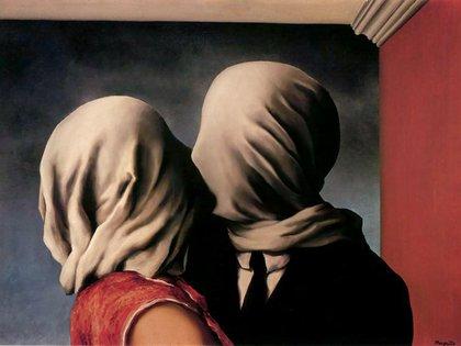 """""""Los amantes"""" (1928),  de René Magritte, en Museo de Arte Moderno de Nueva York (Estados Unidos). Pintura al óleo y Lienzo (54 centímetros x 73.4)"""