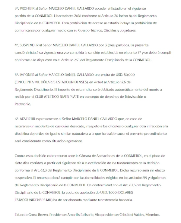 El fallo de la Conmebol que sanciona a Gallardo con cuatro partidos