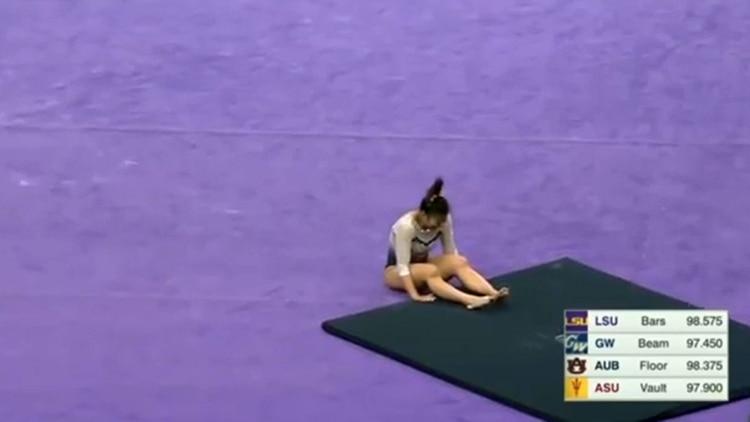 Cerio quedó tendida sobre el suelo tras el salto