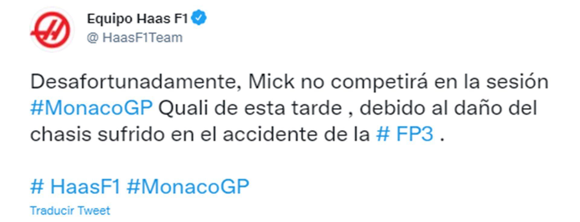 Accidente Mick Schumacher en Mónaco