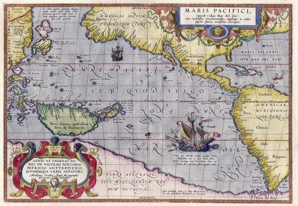 """El mapa """"Maris Pacific"""" incluye la primera representación en un mapa de América. También se ve la hipotética """"Terra Australis"""""""