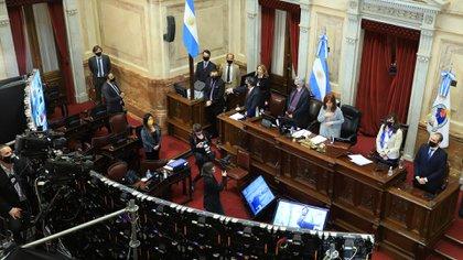 Cristina Fernández de Kirchner, al frente de una de las recientes sesiones en el Senado