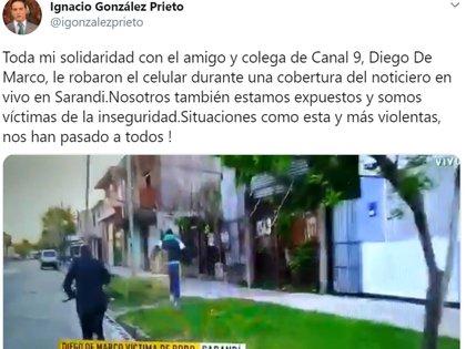 El mensaje de González Prieto sobre el robo que sufrió su colega