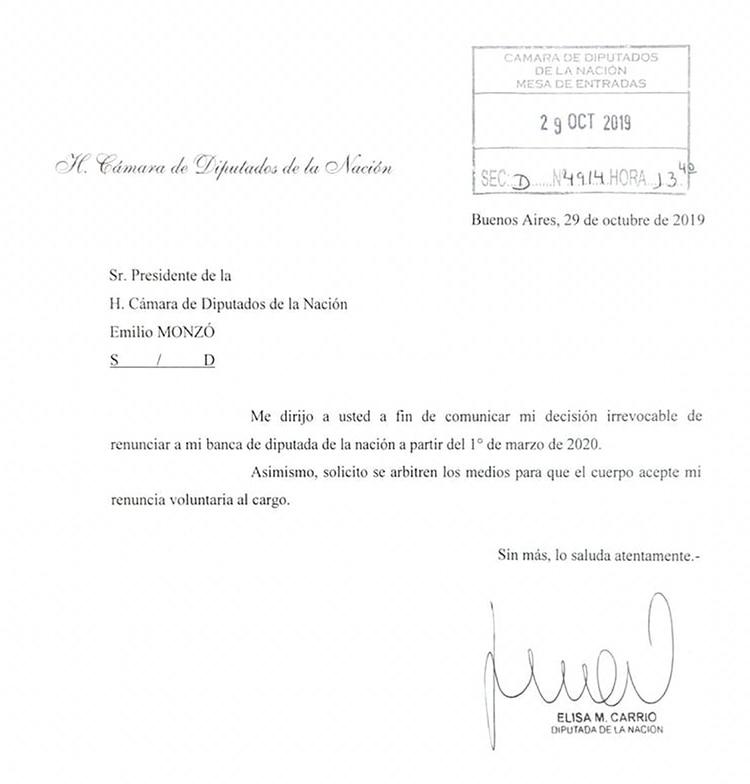 La carta de renuncia que Carrió le envió a Emilio Monzó a fines de octubre