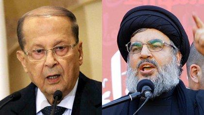 Michel Aoun, primer ministro del Líbano, y Hasan Nasrallah, líder terrorista de Hezbollah