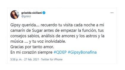 Griselda Siciliani recordó los momentos vividos con Gipsy Bonafina (Foto: Twitter @grisici)