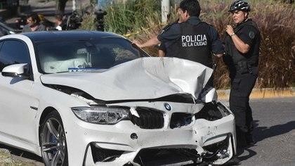 La trompa destruida del BMW de Luis Miguel.