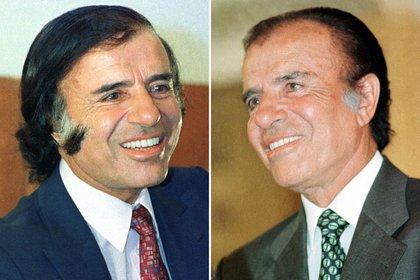 FOTO DE ARCHIVO- Carlos Menem en fotos de 1990 y en 1999, al principio y al final de su gestión