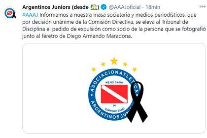 Molina fue desvinculado del Club Argentinos Juniors de donde, paradójicamente, era socio.