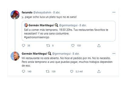 La respuesta de Germán Martitegui a un seguidor que se quejó de los precios de su restaurante