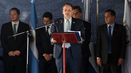 El embajador de Israel en la Argentina, Ilan Sztulman, en el acto para conmemorar el atentado (Maximiliano Luna)
