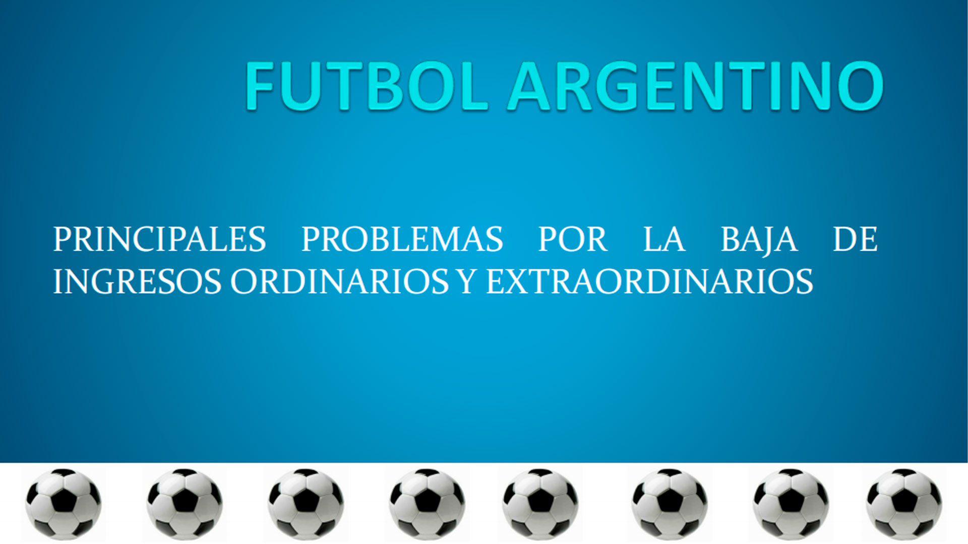 La portada del documento que circula entre los directivos del fútbol argentino