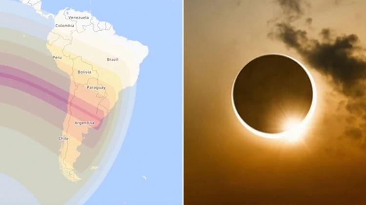 El camino que recorrerá el eclipse solar total en Chile y Argentina
