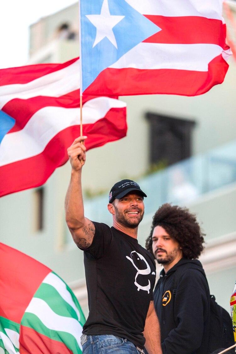 Ricky Martin, durante las protestas contra el gobernador (AP Photo/Dennis M. Rivera Pichardo)