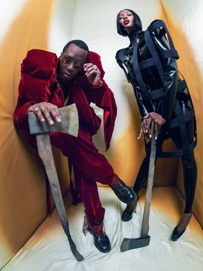 """Talento de rap y corazones: Puff Daddy y la top model Naomi Campbell, en el calendario Pirelli 2018 fotografiados por Tim Walker. Dos verdugos de """"Alicia"""" by Walker . (Gentileza Pirelli)"""