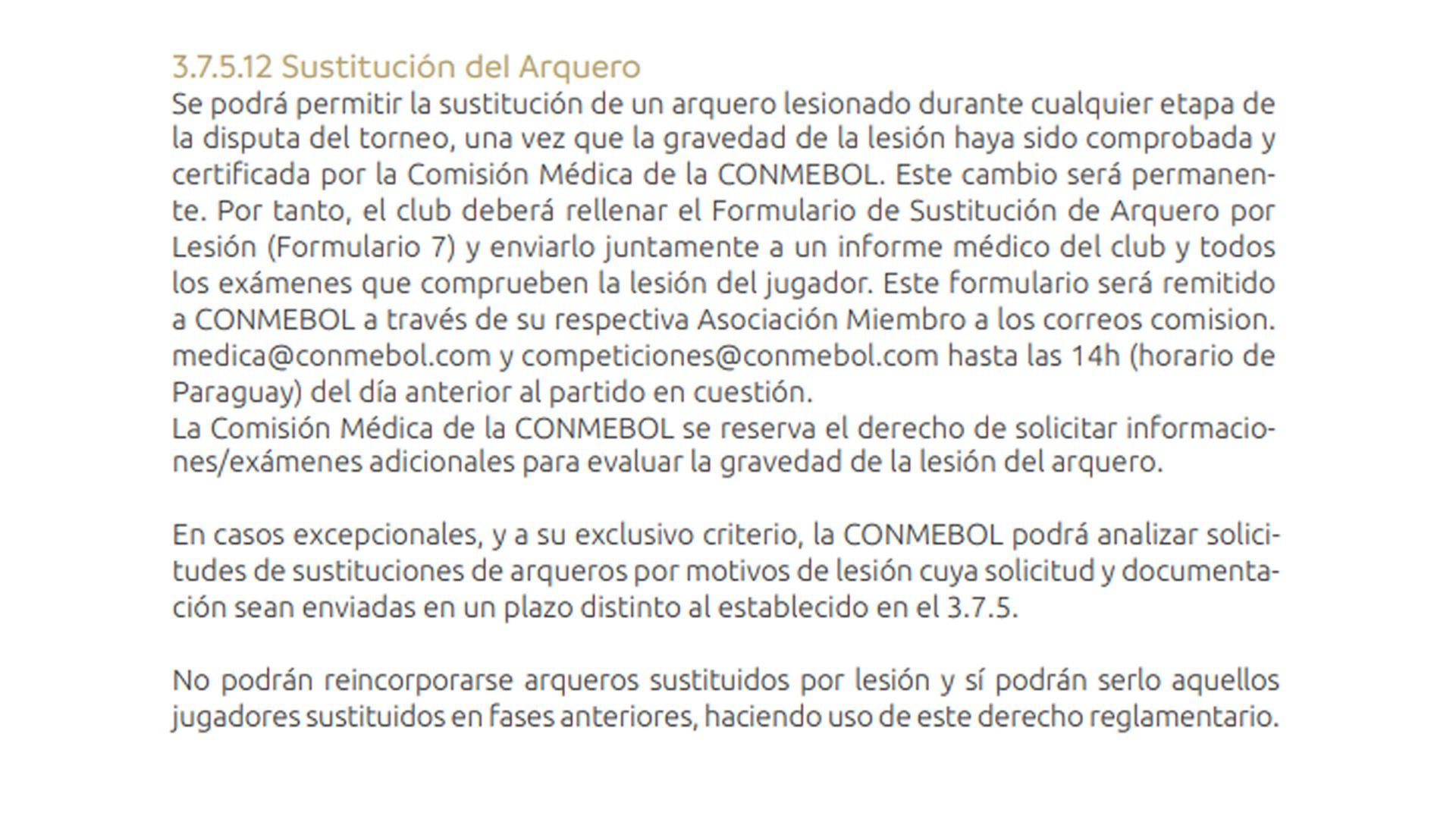 Reglamento arqueros Copa Libertadores