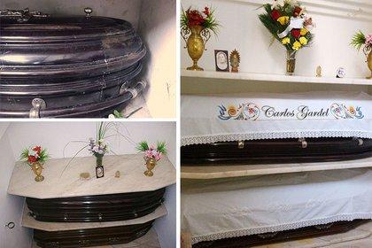 Antes y después: así estuvo durante años la bóveda donde descansan los cuerpos de Carlos y Berta Gardel y así están actualmente.