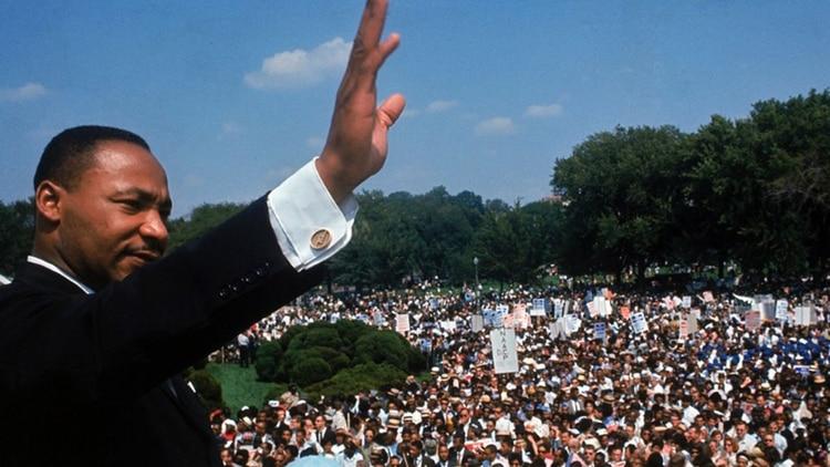 """Martin Luther King, en su célebre discurso de """"Yo tengo un sueño"""", ante 250 mil personas en Washington, DC, el 28 de agosto de 1963."""