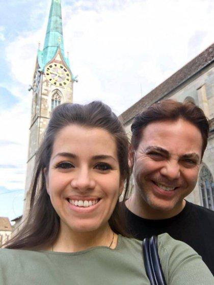Cristian y Carolina en Suiza. Fue la última foto que se sacaron juntos