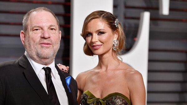 El productor Harvey Weinstein y Georgina Chapman,  dueña de la marca de ropa Marchesa (Getty)